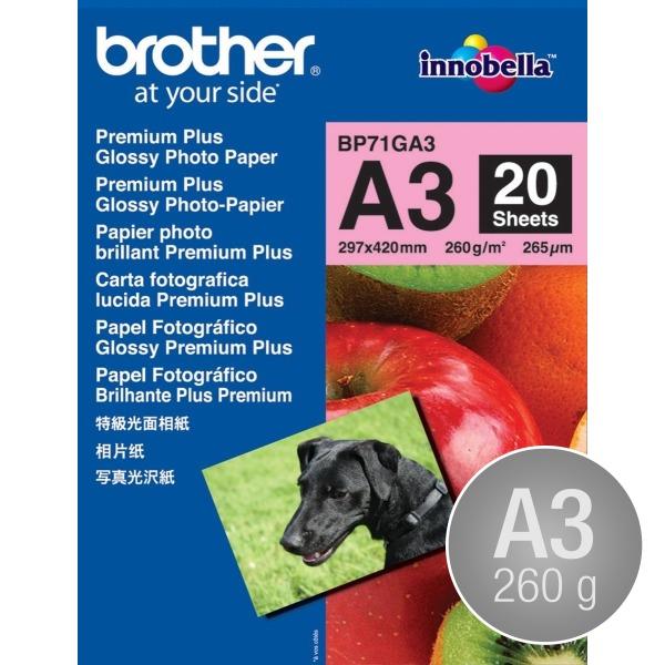 Brother Glossy inkjet fotopapir A3/260g/20 ark