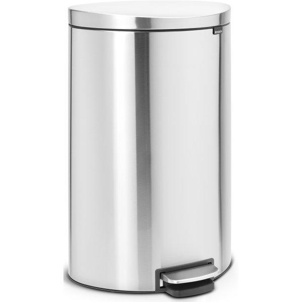 Brabantia Flatback Pedalspand 40 liter, mat stål