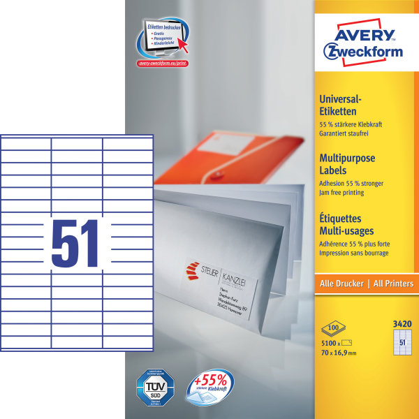 Avery 3420 uni.etiketter, 70 x 16,9mm, 5100stk