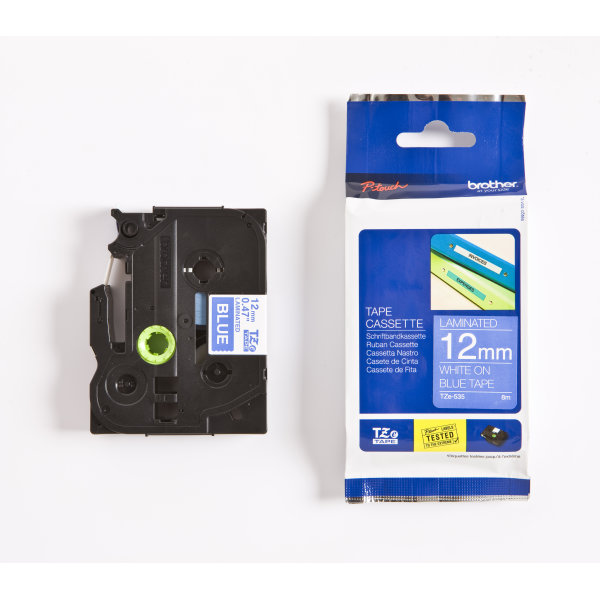 Brother TZe-535 labeltape 12mm, hvid på blå