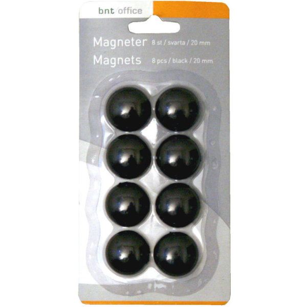 Magneter til whiteboard 20mm. 8 stk, sort