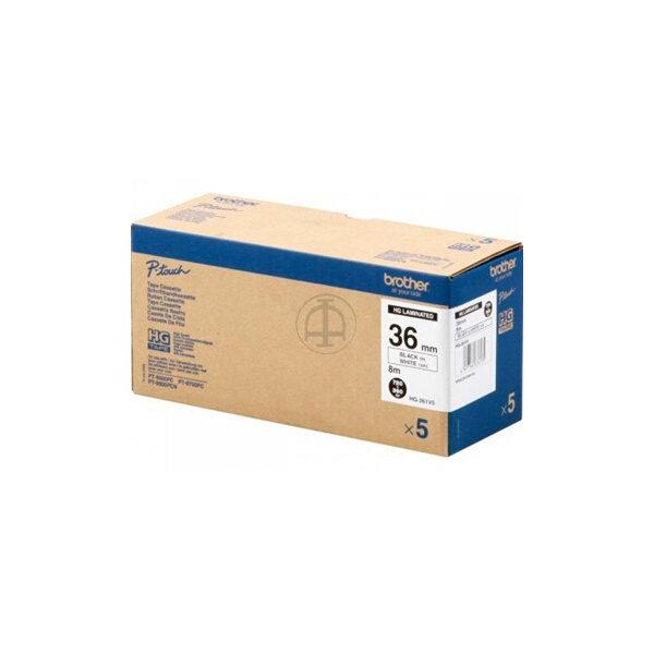 Brother HGe261V5 labeltape 36mm, sort på hvid