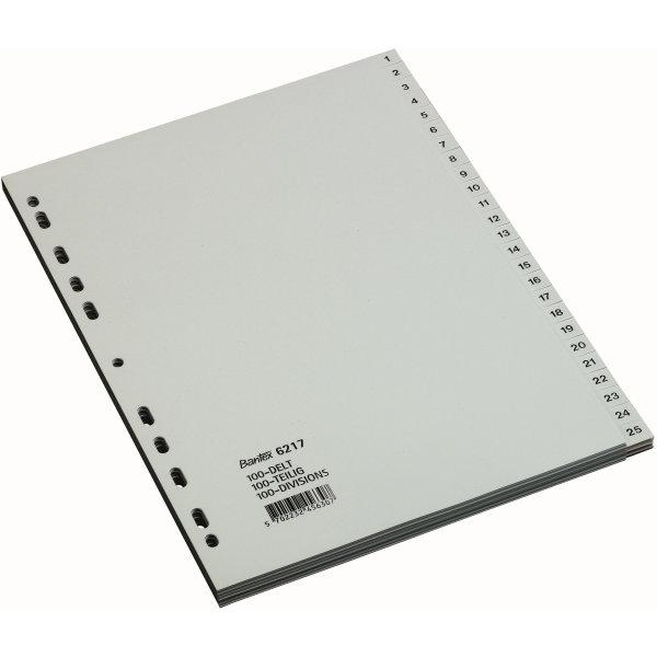 Bantex register PP A4 1-100, grå
