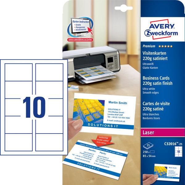 Avery visitkort til farvelaser c32016, ultra hvid