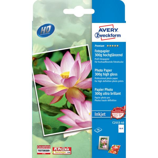 Avery inkjet fotopapir, glossy, 10x15/300g/40ark