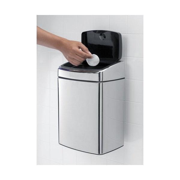 Brabantia Touch Bin Rekt. 10 liter, blank stål