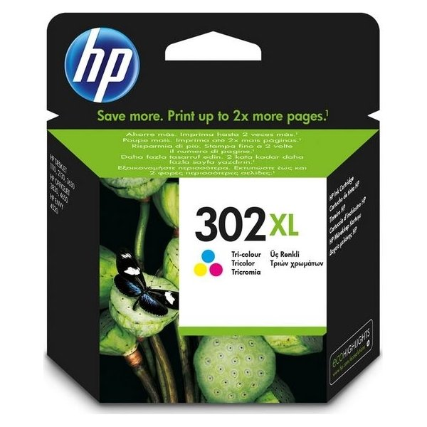 HP nr. 302XL blækpatron, farve, 330 s.