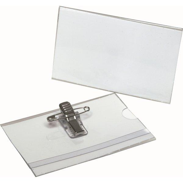 Bantex konferencemærke med nål og clips, 55 x 90mm