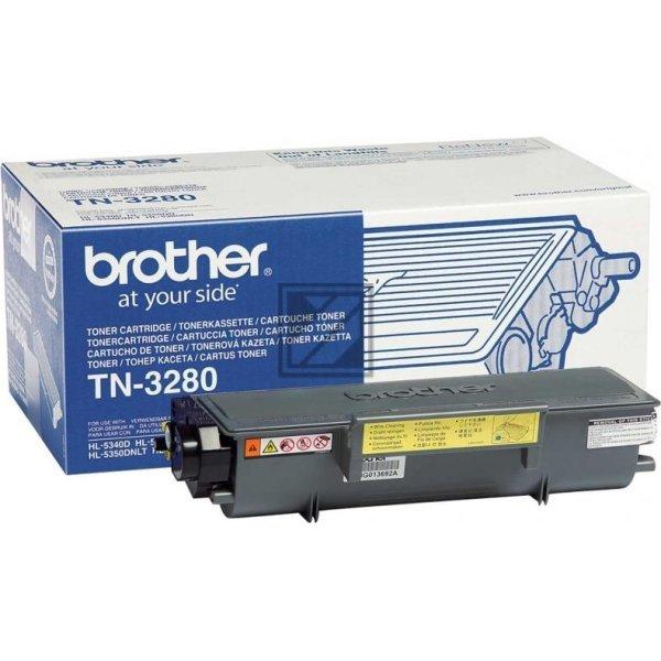 Brother TN3280 lasertoner, sort, 8000s