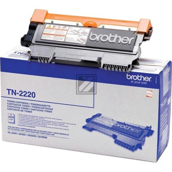 Brother TN2220 lasertoner, sort, 2600s