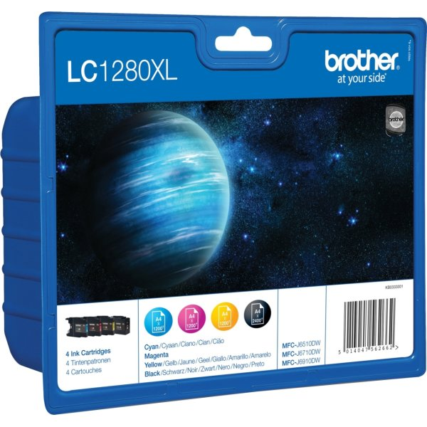 Brother LC1280XLVALBPDR blækpatroner, sampak