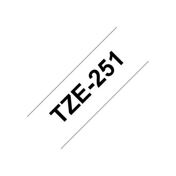 Brother TZe-251 labeltape 24mm, sort på hvid