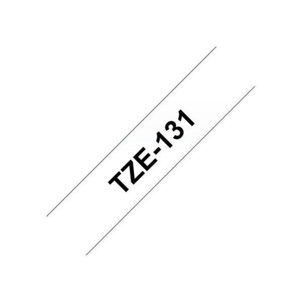 Brother TZe-131 labeltape 12mm, sort på klar