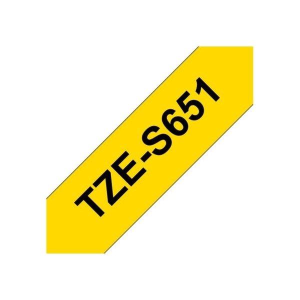 Brother TZe-S651 labeltape 24mm, sort på gul