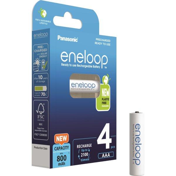 Panasonic Eneloop AAA genop.batterier, 4 stk