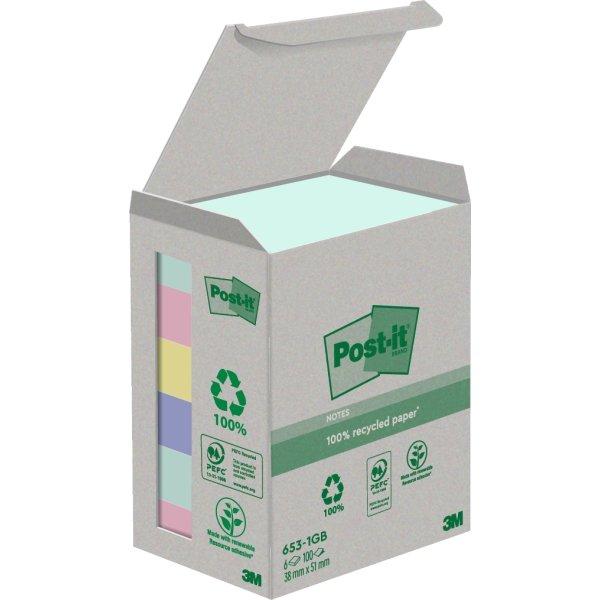 Post-it Green Notes 51 x 38 mm, genbrug, regnbue