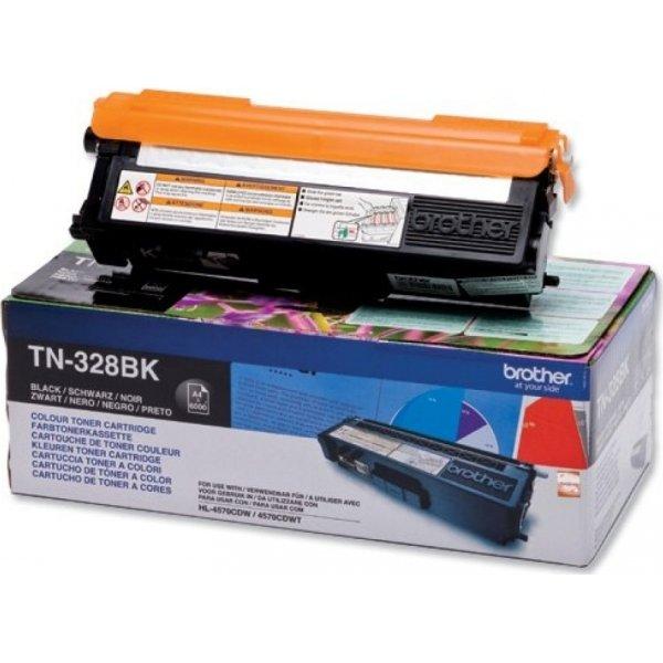 Brother TN328BK lasertoner, sort, 6000s