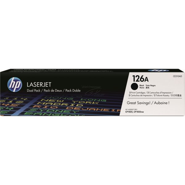 HP 126A/CE310AD lasertoner, sort, 2x1200s