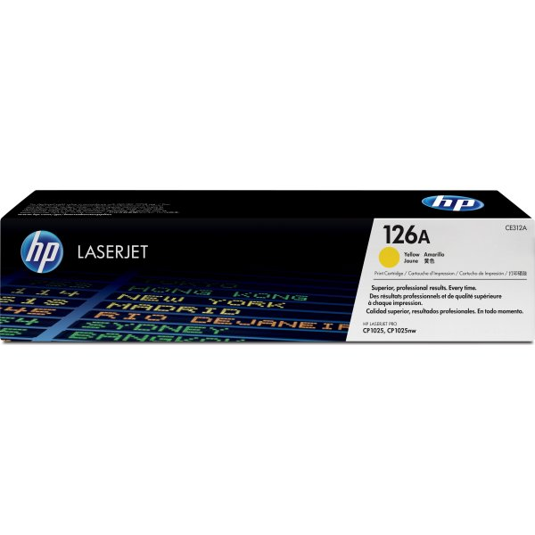 HP nr.126A/CE312A lasertoner, gul, 1000s