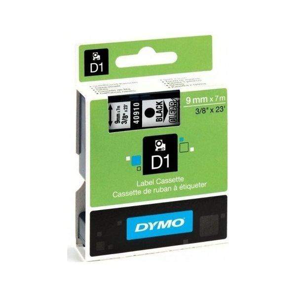 Dymo D1 labeltape 9mm, sort på klar
