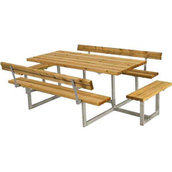 Plus Basic bord-bænkesæt m. ryg/påbyg, Lærk
