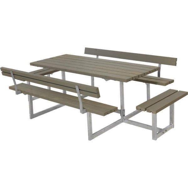 Plus Basic bord-bænkesætm. ryglæn/påbyg, Gråbrun