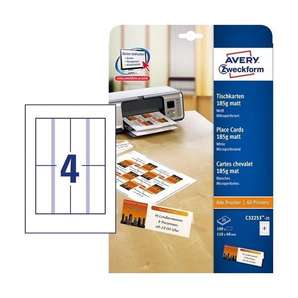 Avery C32253-25 bordkortetiketter