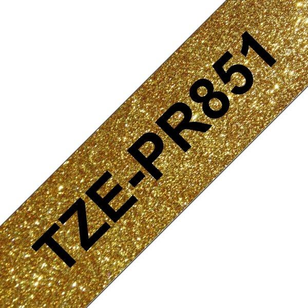 Brother TZe-PR851 labeltape, 24mm, sort på guld