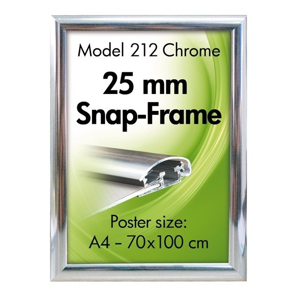 Alu Plakatramme, Snap-frame, 50 x 70 cm, Krom