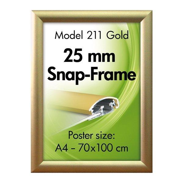 Alu Plakatramme, Snap-frame, 50 x 70 cm, Mat guld