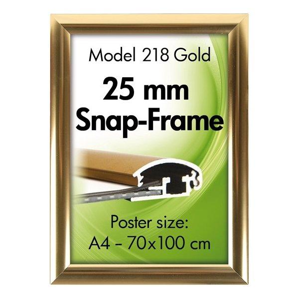 Alu Plakatramme, Snap-frame, 70x100 cm, Blank guld