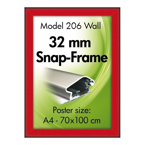 Alu Plakatramme, Snap-frame, 70 x 100 cm, Rød