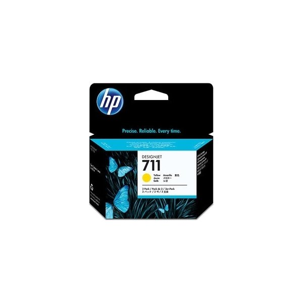 HP No711 3 stk. blækpatroner, gul, 29 ml