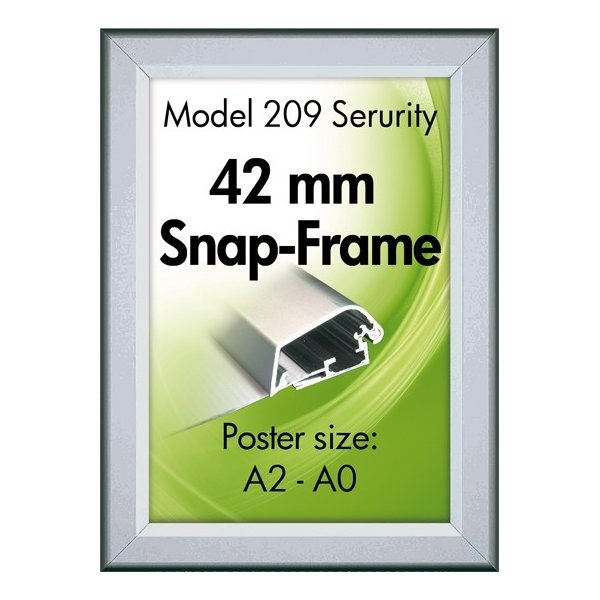 Alu Plakatramme, Security Snap-frame, 70x100, Sølv