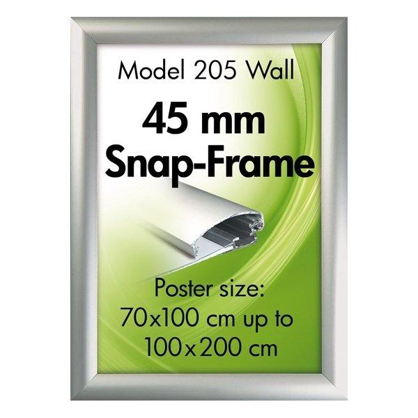 Alu Plakatramme, 45mm Snap-frame, 100x200, Sølv