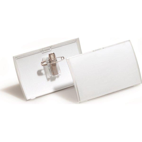 Durable Navneskilt m. nål/klemme 40 x 75 mm, 25stk