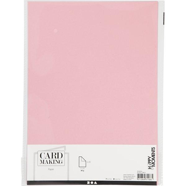Happy Moments Papir, A4, 70g, 20 ark, lyserød