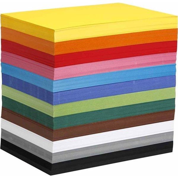 Colortime Karton, A4, 180g, 1200 ark, ass. farver
