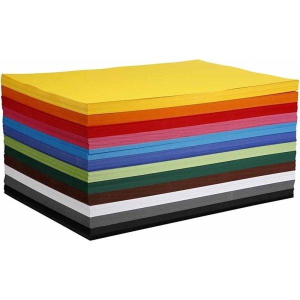 Colortime Karton, A2, 180g, 1200 ark, ass. farver