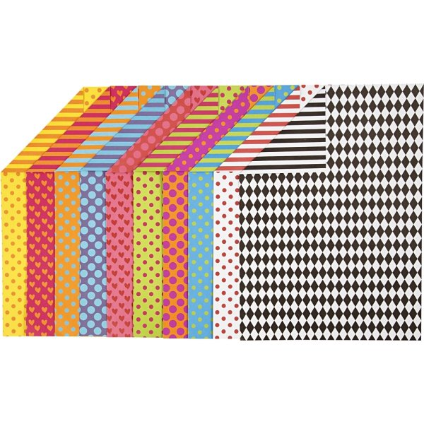Colortime Mønstret Karton, A4, 250g, 200 ark, ass.