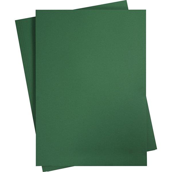 Karton, A2, 180g, 10 ark, grangrøn
