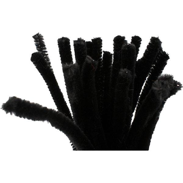 Chenille Piberensere 9 mm, sort, 25 stk