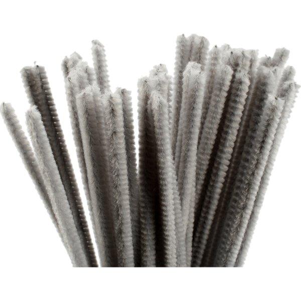 Chenille Piberensere 6 mm, grå, 50 stk