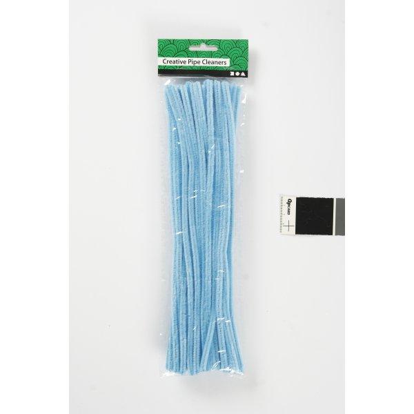 Chenille Piberensere 6 mm, blå, 50 stk