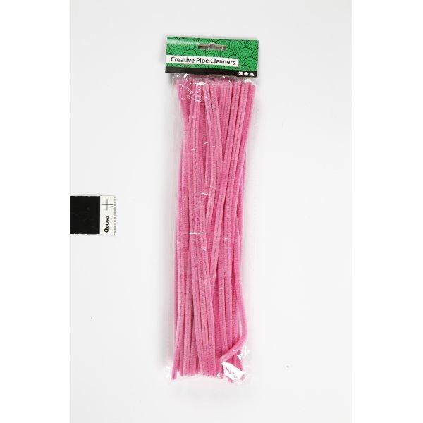 Chenille Piberensere 6 mm, pink, 50 stk