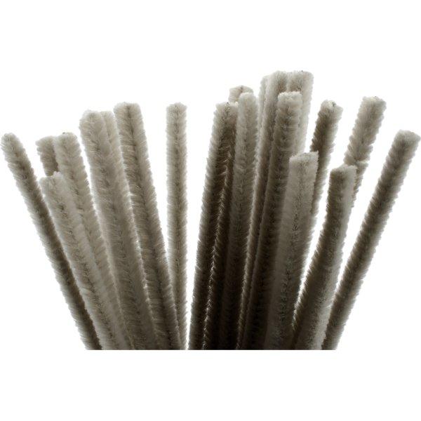 Chenille Piberensere 9 mm, grå, 25 stk