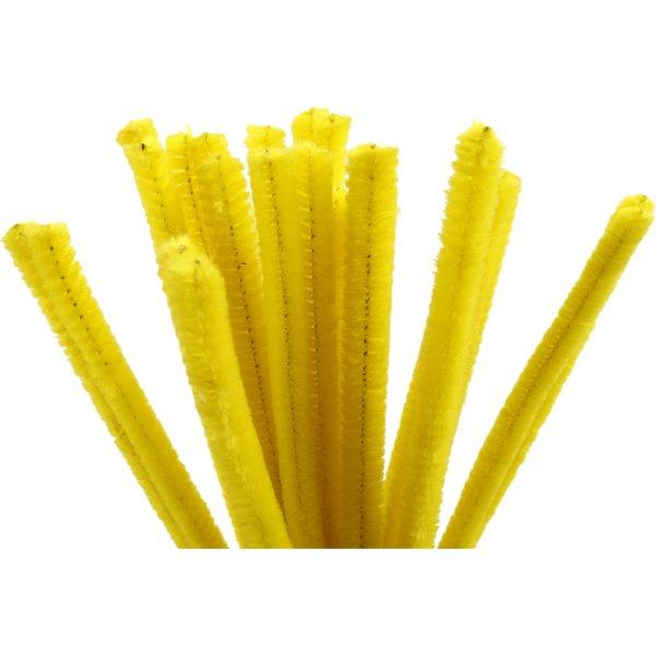 Chenille Piberensere 9 mm, gul, 25 stk