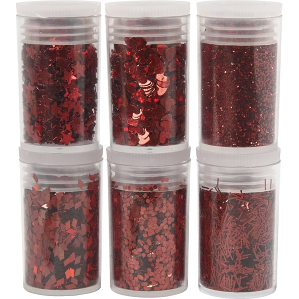 Glitter og Pailletter, rød, 6x5 g