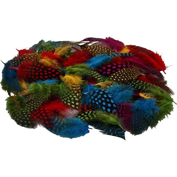 Perlehønsfjer, ass. farver, 100 stk