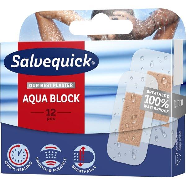 Salvequick Aqua Block plaster, 12 stk.